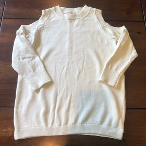 LOFT off white sweater w/cut out shoulders.Small.